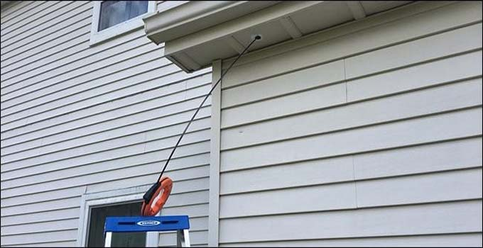 fishing rod to the ethernet wires of the security camera